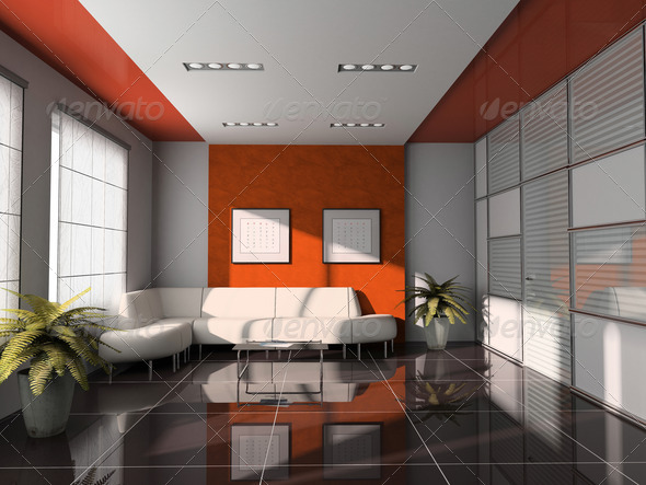 office  interior with orange ceiling 3D rendering - Stock Photo - Images