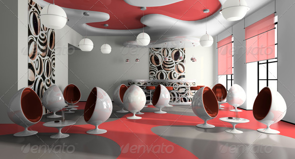 Interior of the modern cafe - Stock Photo - Images
