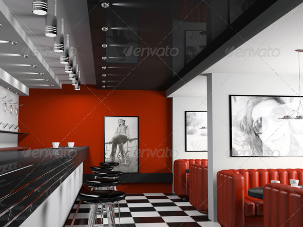Interior of fashionable bar with cafeteria chairs - Stock Photo - Images