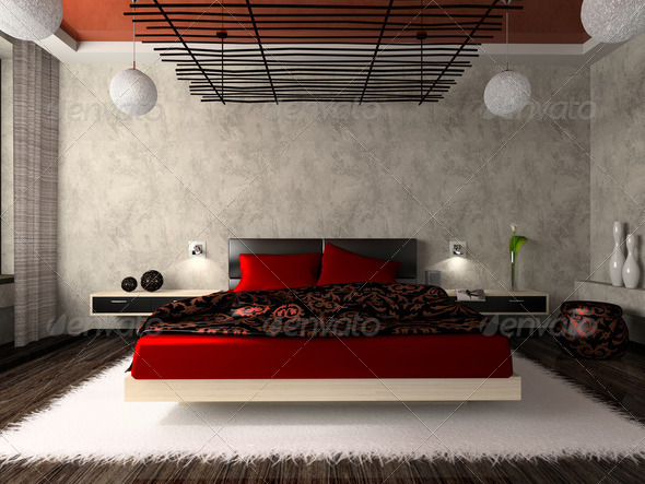 Luxurious bedroom in red - Stock Photo - Images