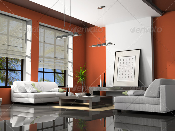 Home interior with sofas red 3D rendering - Stock Photo - Images