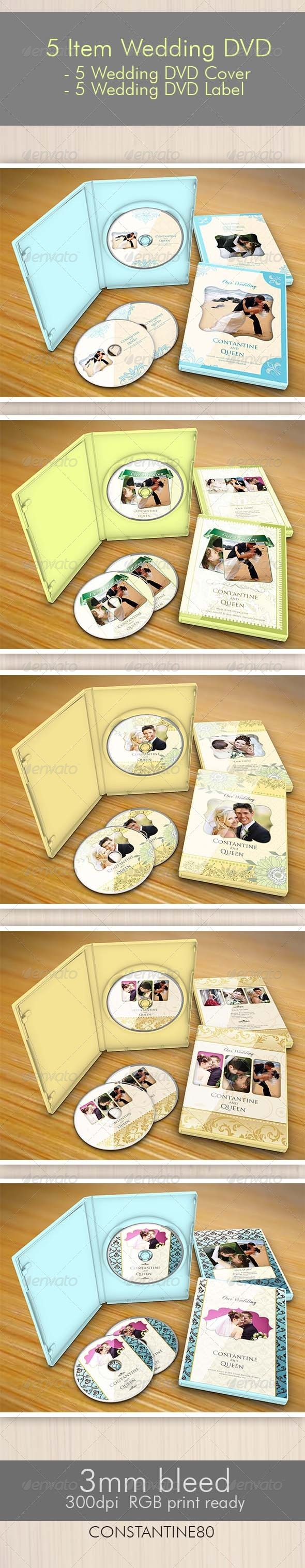 5 Item Wedding DVD - CD & DVD artwork Print Templates