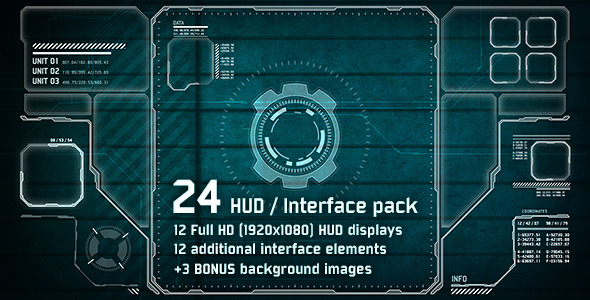 24 Hi-Tech HUD Interface Pack