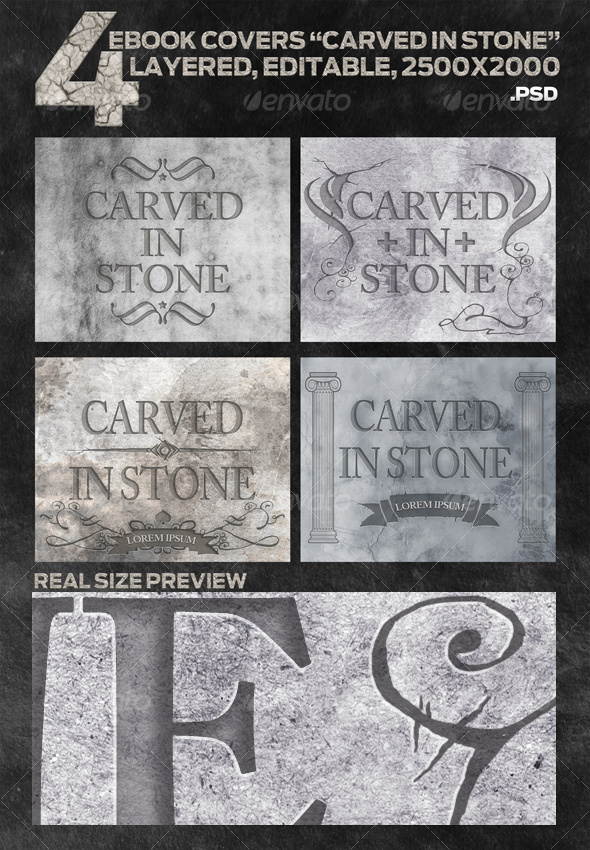 GraphicRiver 4 eBook Covers Carved In Stone Layered 102098