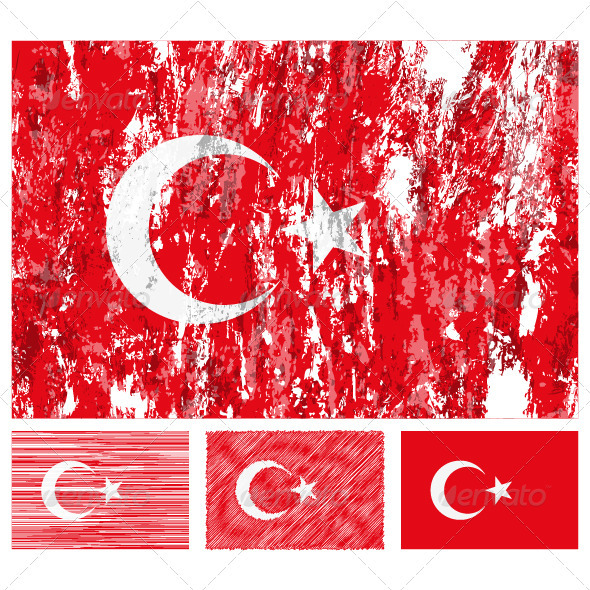 Turkey grunge flag set