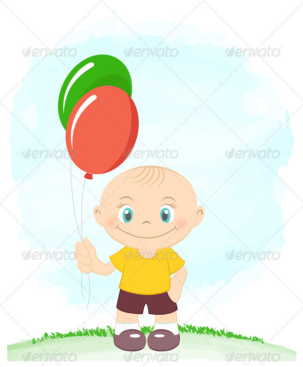Cute Little Boy With Toy Balloons