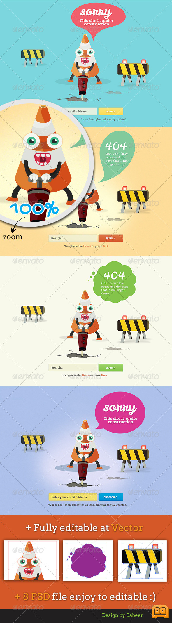 GraphicRiver Cone Error 404 Page and Under Construction Page 2838285