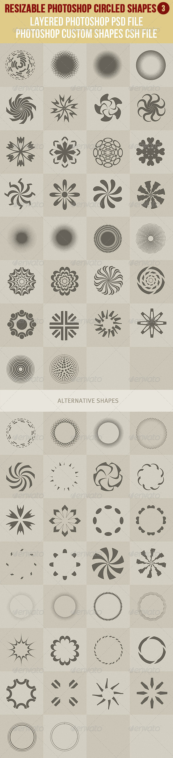 Photoshop Circled Shapes 3 - Symbols Shapes