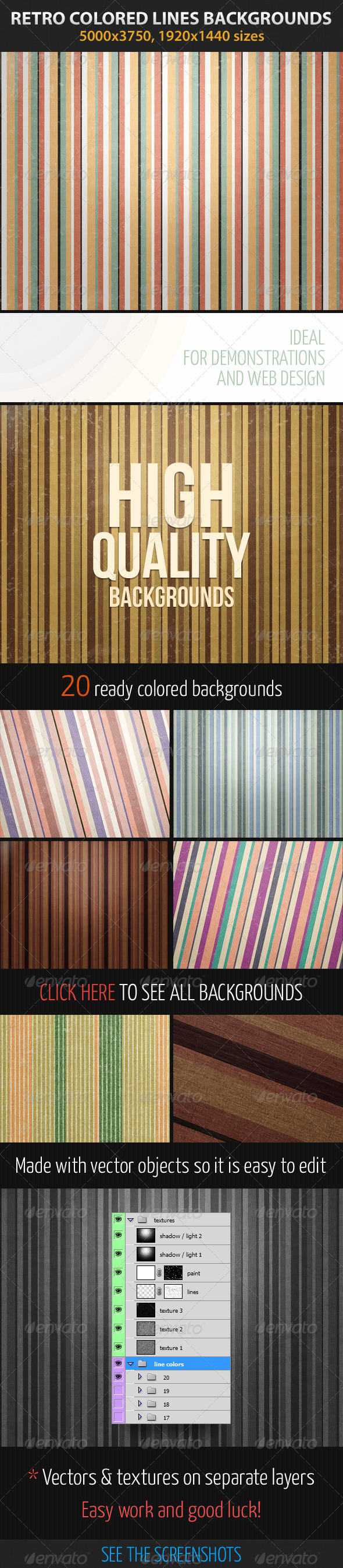 Retro Colored Lines - Patterns Backgrounds