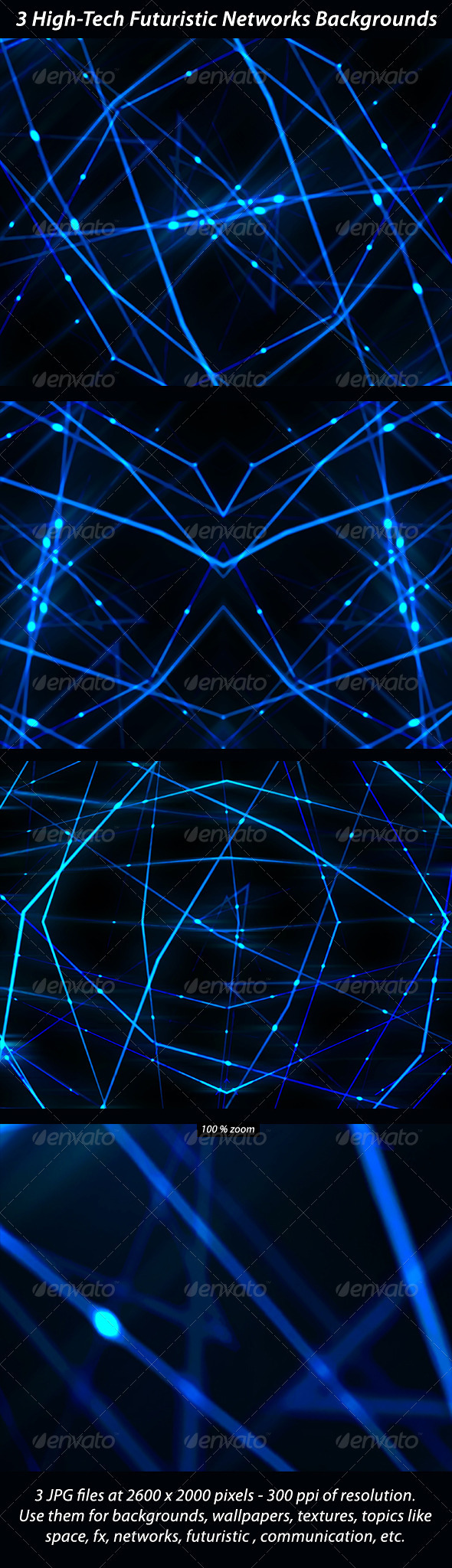 3 High Tech Futuristic Networks Backgrounds - Tech / Futuristic Backgrounds