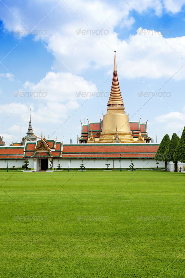 Thai temple in grand palace Bangkok - Stock Photo - Images