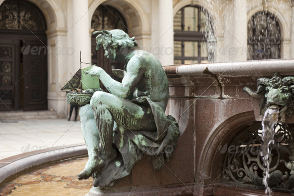 Detail of the fountain in the city hall of Hamburg - Stock Photo - Images