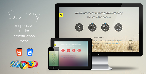 Sunny. Responsive Coming Soon Page.