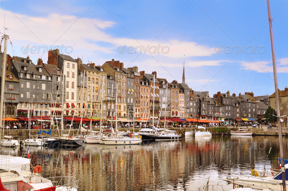 The beautiful old port of Honfleur, Normandy, France. - Stock Photo - Images