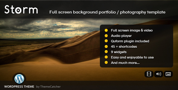 Storm WordPress Full Screen Background Theme