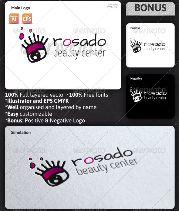 Rosado Beauty Center Logo - Humans Logo Templates