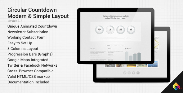 ThemeForest Circular Countdown Modern Coming Soon Layout 2539955