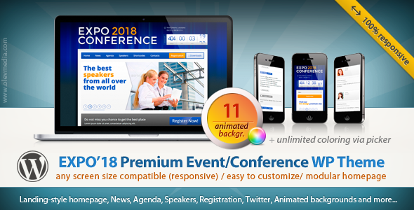 ThemeForest Expo18 Responsive Event Conference WordPress Theme WordPress Corporate Business 2680170