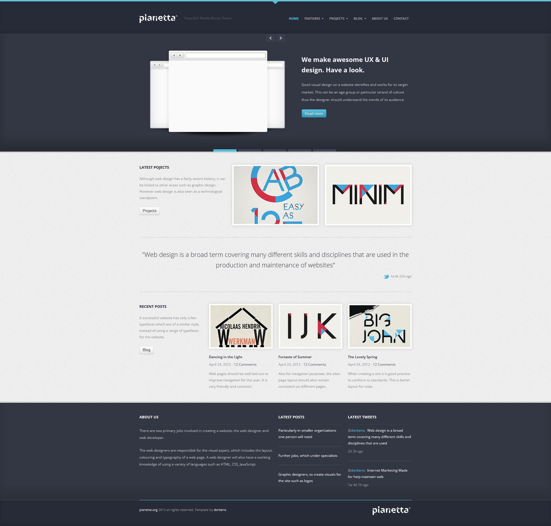 PLANETTA Responsive HTML CSS3 Template