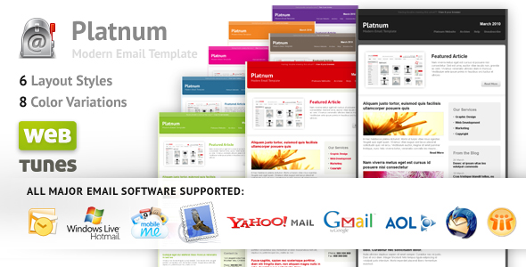 Platnum Email Template, 6 Layouts, 8 Colors - Platnum - Modern Email Template