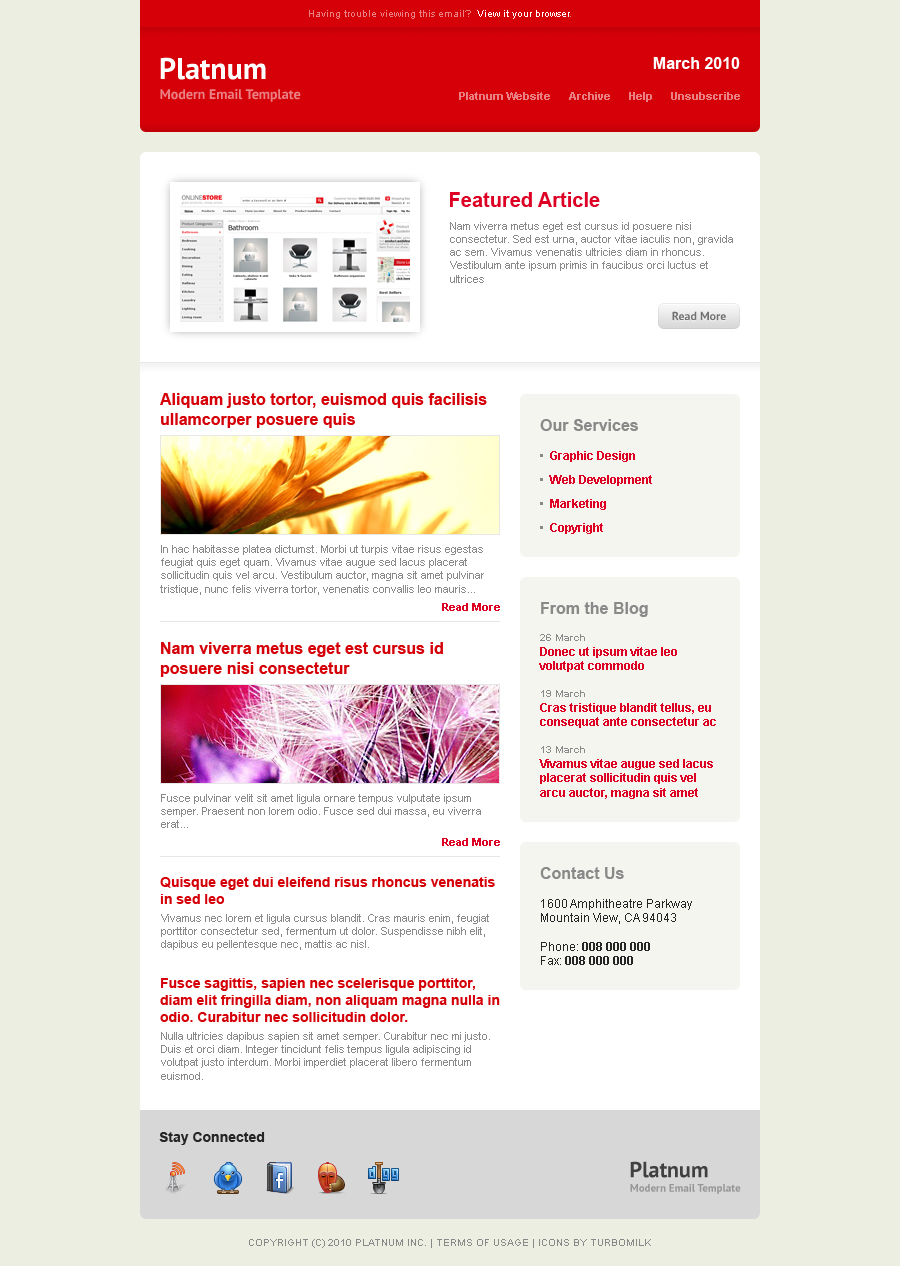 Platnum Email Template, 6 Layouts, 8 Colors - Red Theme - Layout 1