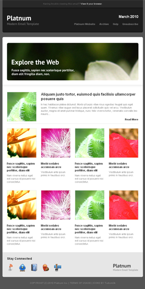 Platnum Email Template, 6 Layouts, 8 Colors - New Layout created by simply copy/past blocks od code.