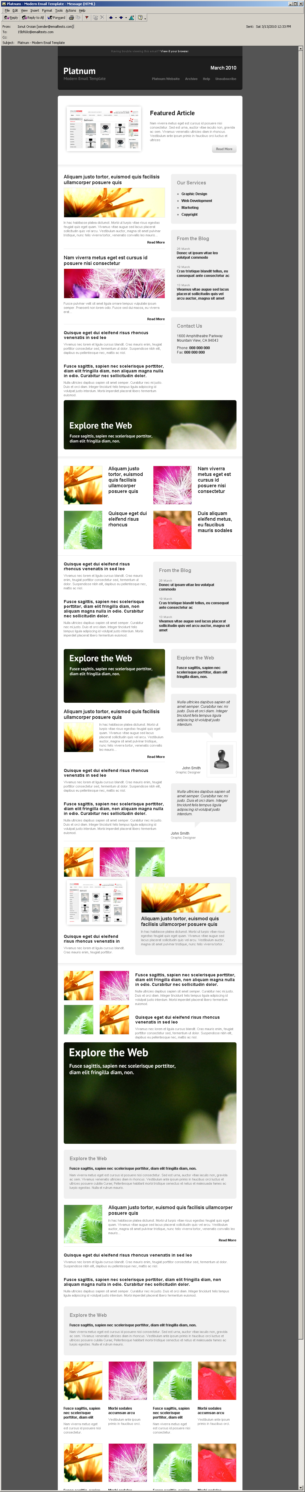 Platnum Email Template, 6 Layouts, 8 Colors - Outlook 2000 view - All elements listed.
