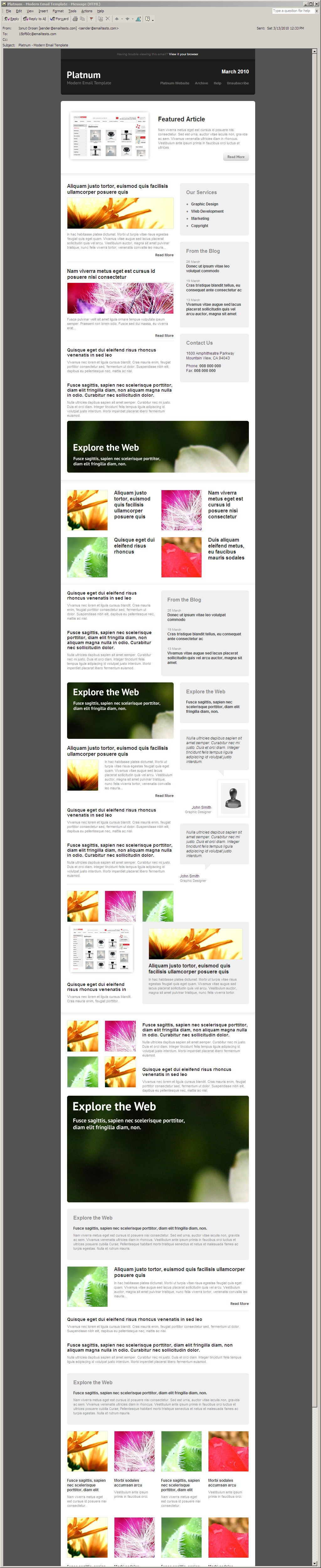 Platnum Email Template, 6 Layouts, 8 Colors - Outlook 2002/XP - All elements listed.