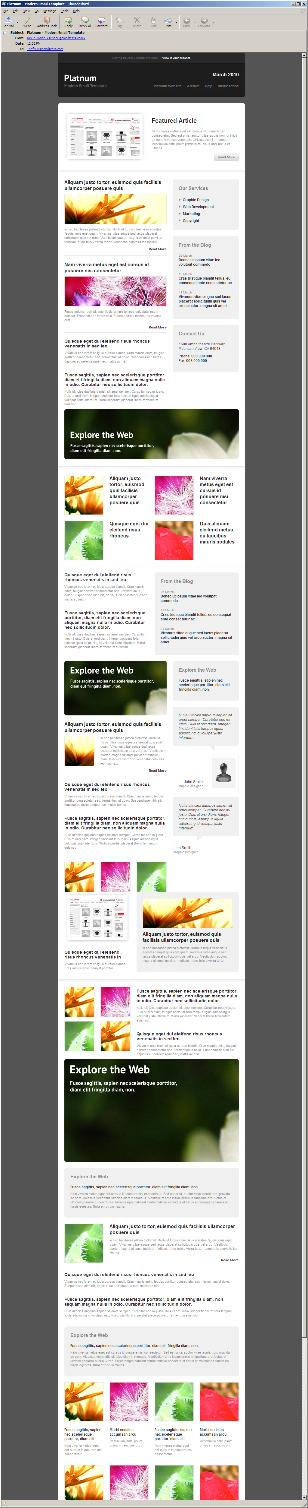 Platnum Email Template, 6 Layouts, 8 Colors - Thunderbird 3.0 - All elements listed.