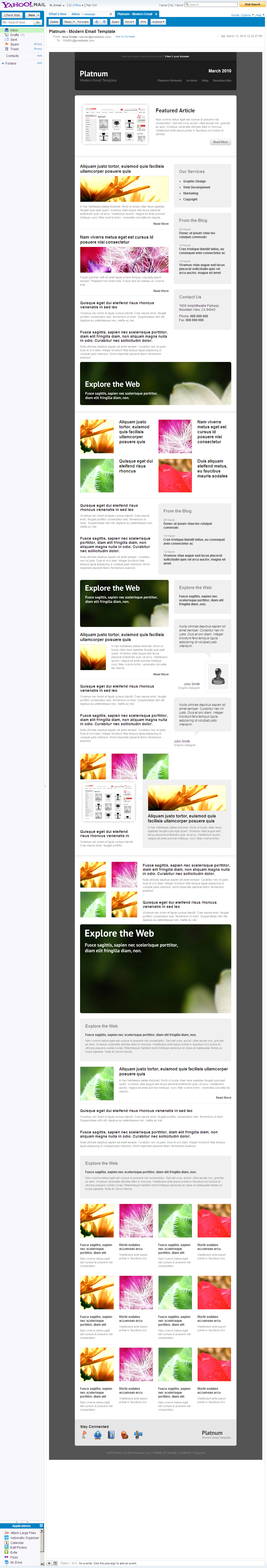 Platnum Email Template, 6 Layouts, 8 Colors - Yahoo Mail - All elements listed.