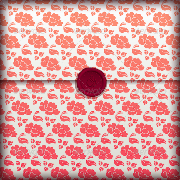 Red Flower Letter Banner - Abstract Conceptual