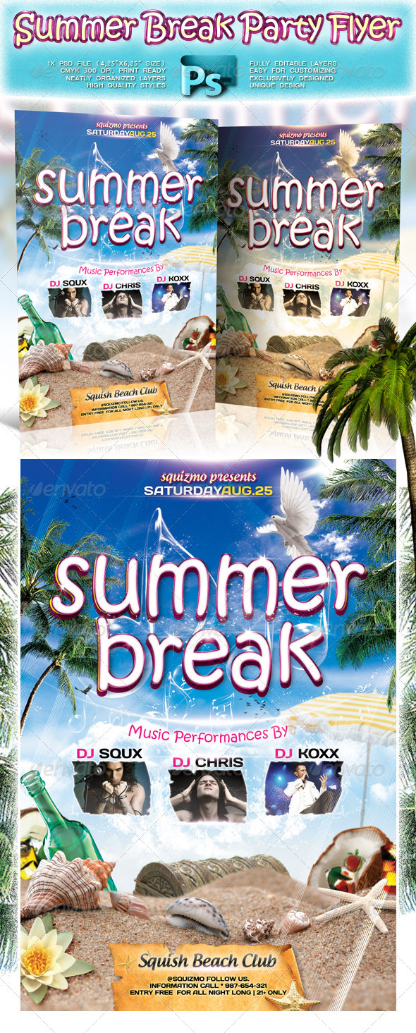 Summer Break Party Flyer - Clubs & Parties Events