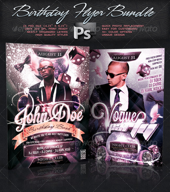 Birthday Flyer Bundle Vol.5 - Clubs & Parties Events