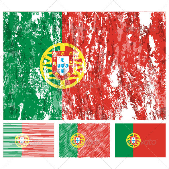 Portugal grunge flag set - Conceptual Vectors