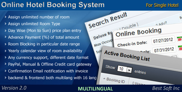 CodeCanyon Online Hotel Booking System 2680320