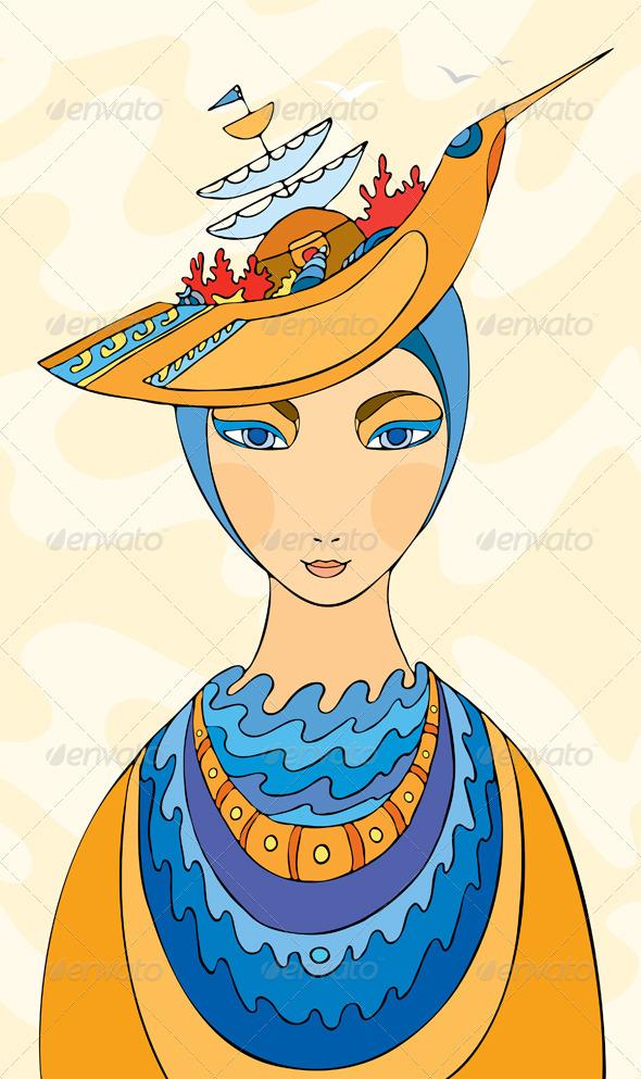 Girl Hat Costume Ship Sea - People Characters