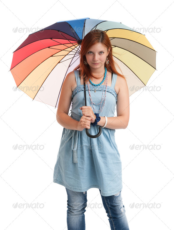 happy young girl with an umbrella - Stock Photo - Images