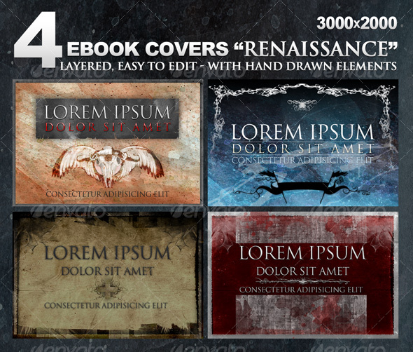 "4 eBook covers ""Renaissance"" with hand-drawn stuff - Miscellaneous Web Elements"