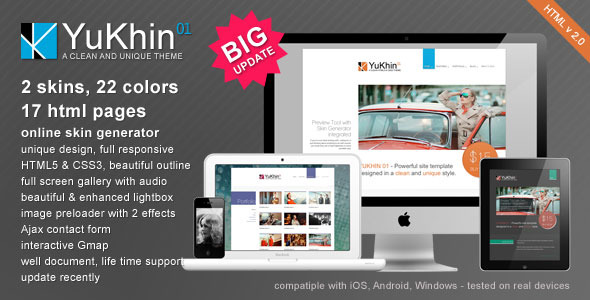 YuKhin 01 - Responsive HTML5 & CSS3 site template - Preview
