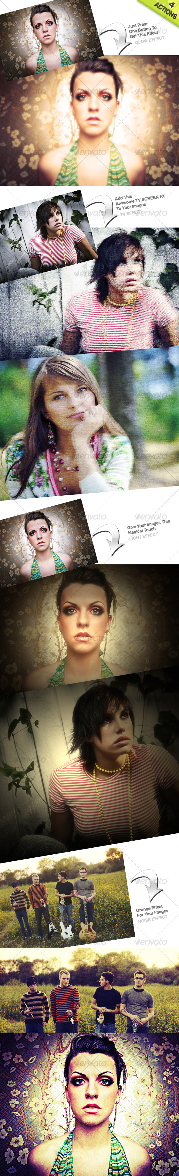 4 Photoshop Actions - Photo Effects Actions