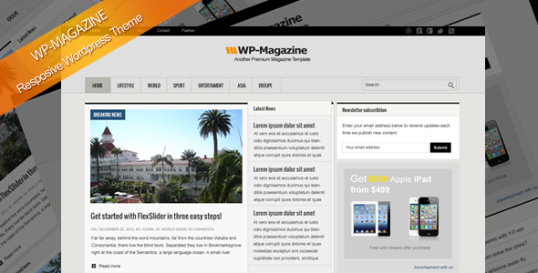 WP-Magazine responsive Wordpress theme