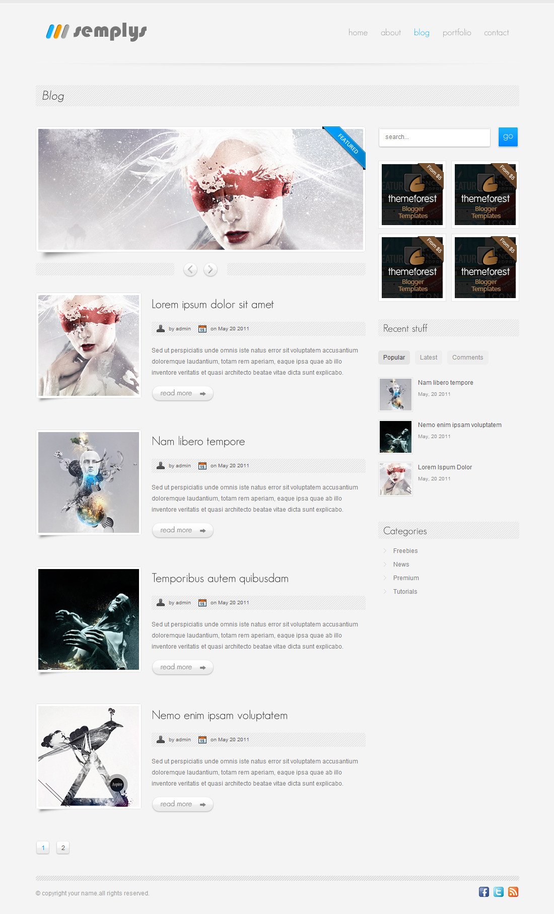 semplys | HTML/CSS Portfolio Template