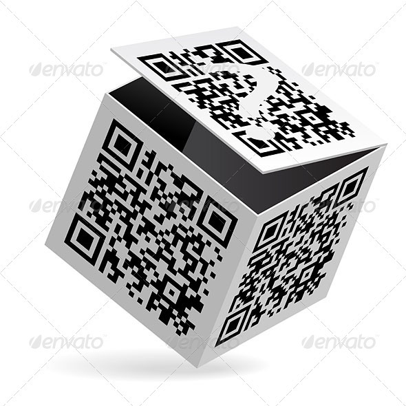 QR code on box - Decorative Vectors
