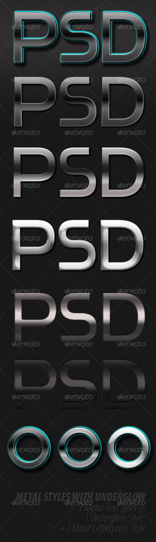 GraphicRiver Sleek Metal Text Styles With Underglow 102642