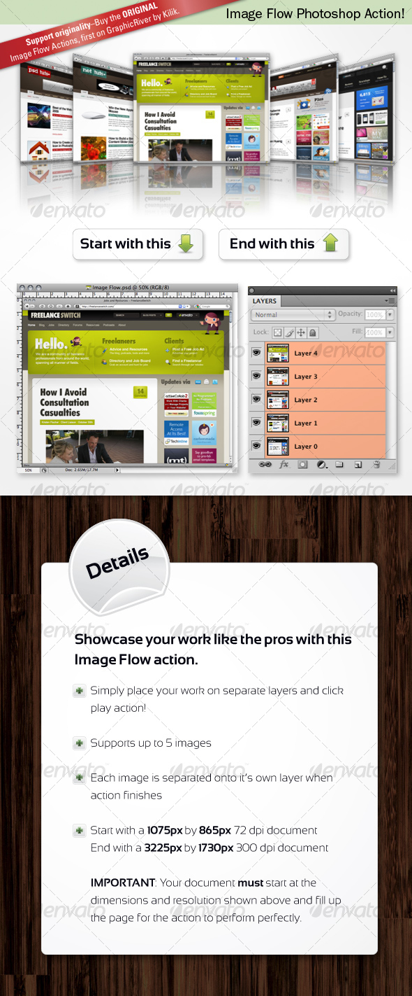 Image Flow Photoshop Action - Utilities Actions