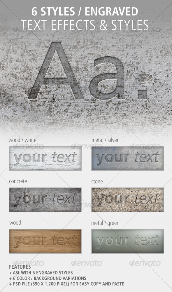 GraphicRiver 6 Text Effects and Styles Engraved 101557