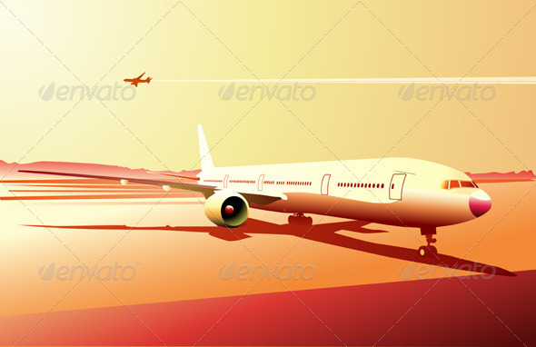 Urban airport scene - Objects Vectors