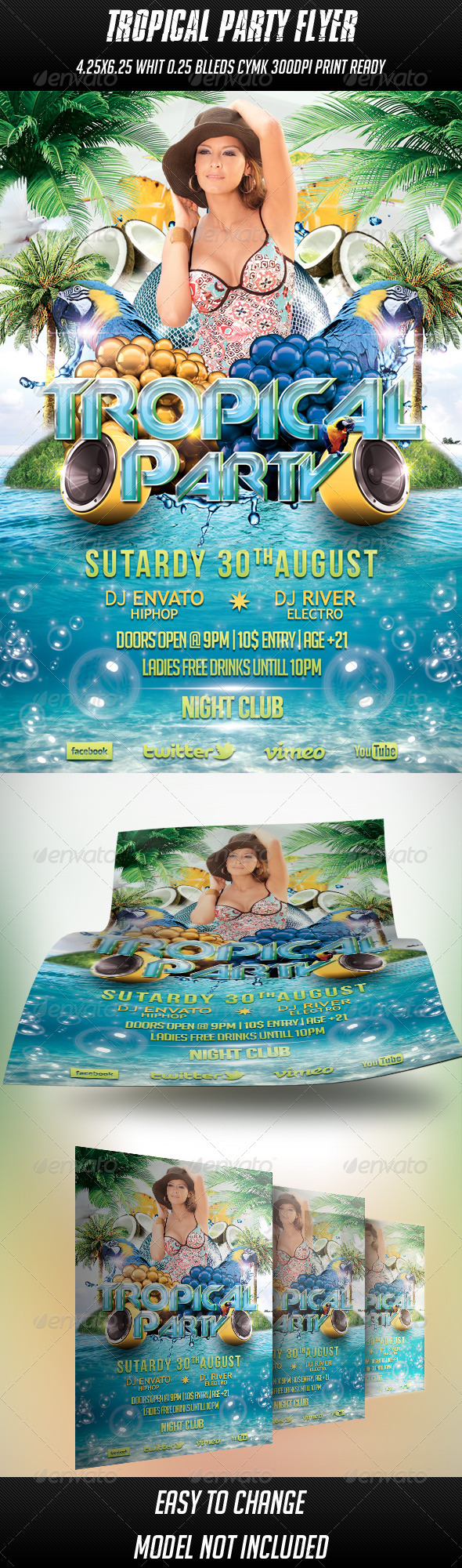 Tropical Party Flyer - Events Flyers