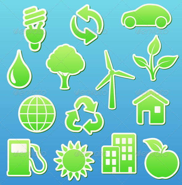 Green eco icon set   - Nature Conceptual