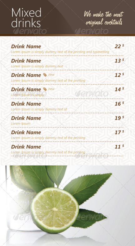 Genoa list of drinks template by alfamedic graphicriver for List of mixed drinks